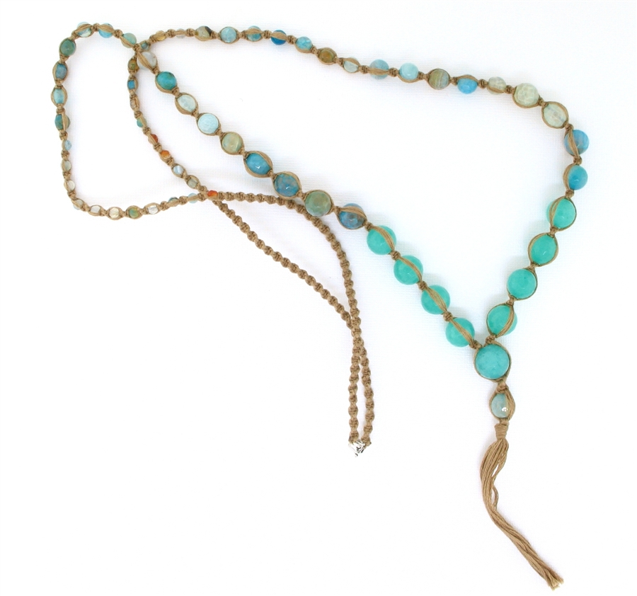 chan luu aqua semi precious mix necklace cotton
